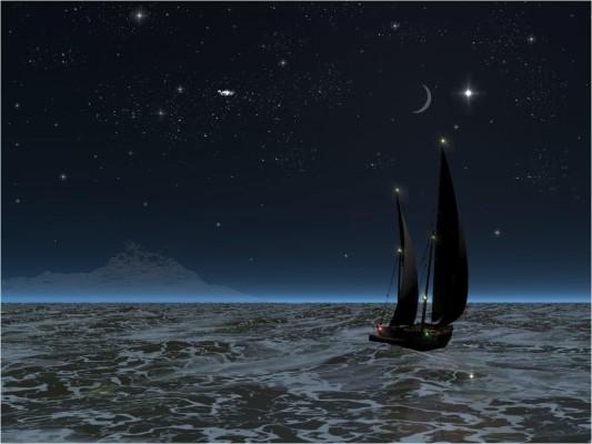 jacht nocą