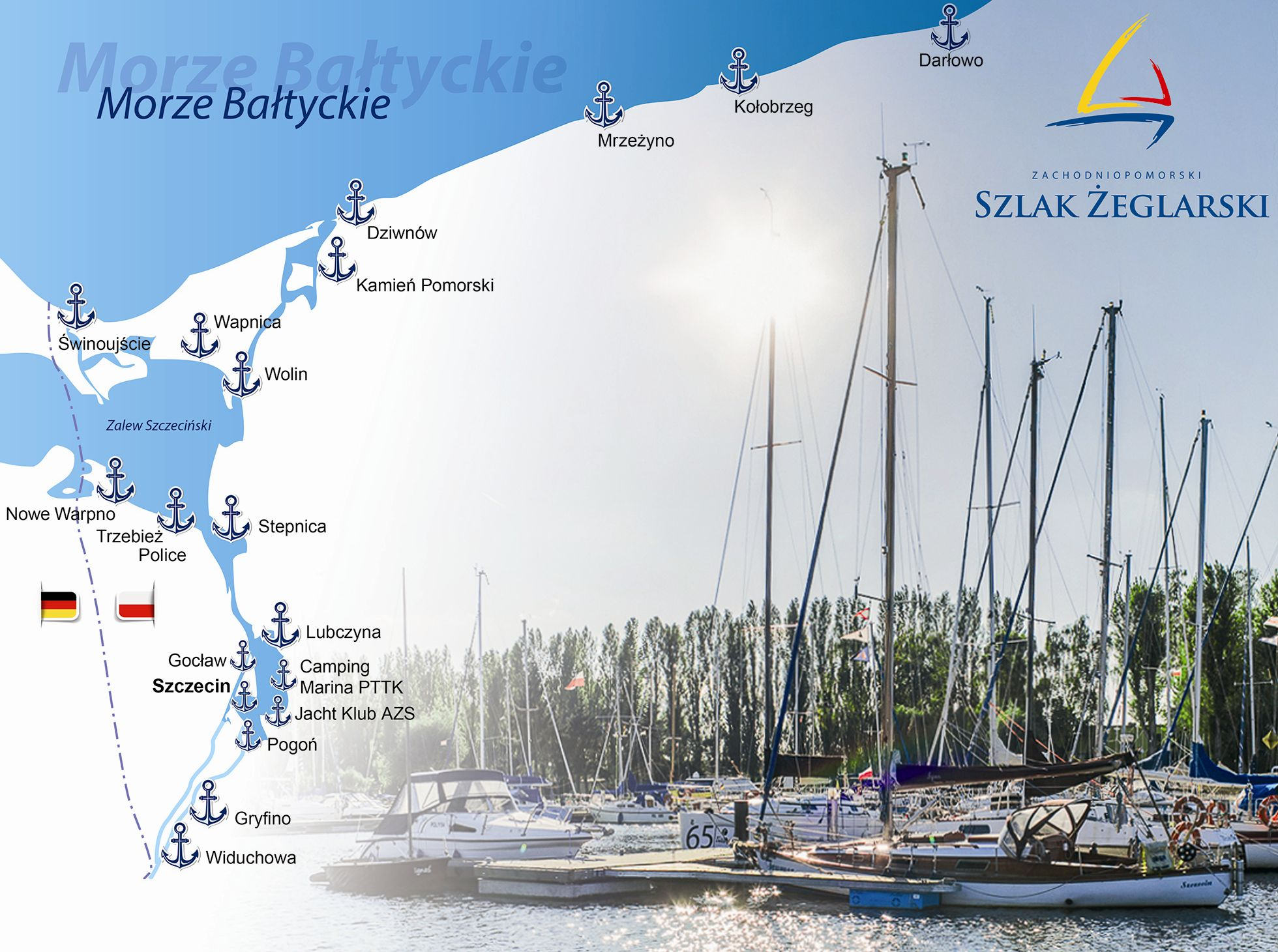 Informacja dla żeglarzy. Zachodniopomorski Szlak Żeglarski.